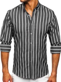 Grafitová pánska pruhovaná košeľa s dlhými rukávmi Bolf 20730