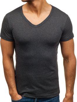 Grafitové pánske tričko bez potlače s výstrihom do V BOLF 1002