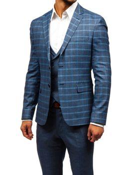 Grafitovo-modrý pánsky oblek s vestou BOLF 18300 9e4560f637