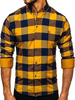 Hnedá pánska károvaná košeľa s dlhými rukávmi Bolf 4701-2