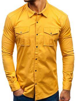 f563b066539a Horčicová pánska košeľa s dlhými rukávmi BOLF 2058-1