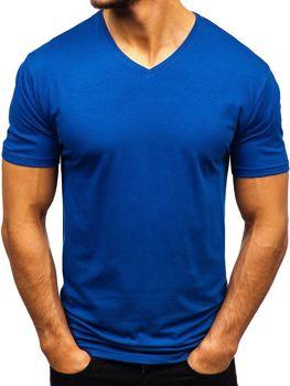 Indigo pánske tričko s výstrihom do V bez potlače BOLF 172010-A