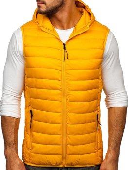 Kamelová pánska prešívaná vesta s kapucňou Bolf HDL88002