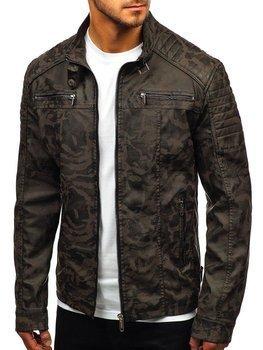 ed63a6a678cc Khaki maskáčová pánska koženková bunda BOLF EX920