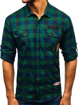 Khaki pánska flanelová košeľa s dlhými rukávmi BOLF 2503