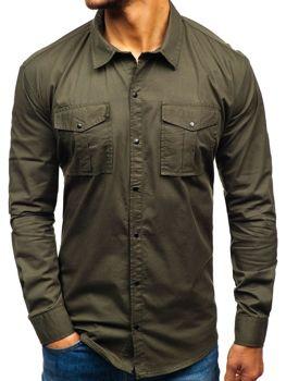 Khaki pánska košeľa s dlhými rukávmi BOLF 2058-1