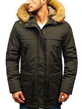Khaki pánska zimná bunda parka BOLF R105