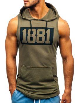 455c581fbe6a Khaki pánske tričko bez rukávov s potlačou a kapucňou BOLF 1281