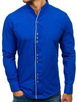 Kobaltová pánska košeľa s dlhými rukávmi BOLF 5720