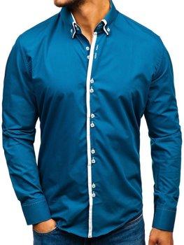 949cf0a5a18c Kráľovský modrá pánska elegantá košeľa s dlhými rukávmi BOLF 1721-A