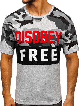 Maskáčovo-šedé pánske tričko s potlačou BOLF 6308
