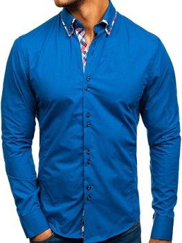 Modrá pánska elegantá košeľa s dlhými rukávmi BOLF 4704-1
