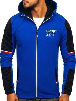 Modrá pánska flísová bunda s kapucňou Bolf YL006