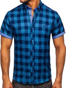 Modrá pánska károvaná košeľa s krátkymi rukávmi Bolf 6522