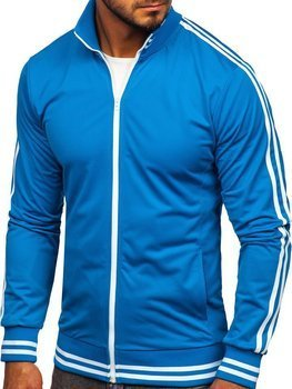 Modrá pánska mikina na zips bez kapucne retro style Bolf 11113
