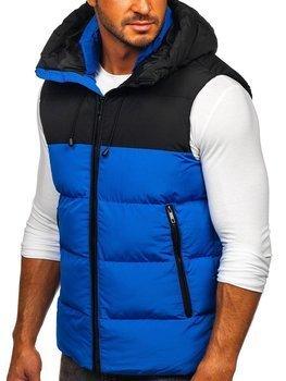 Modrá pánska prešívaná vesta s kapucňou Bolf1189