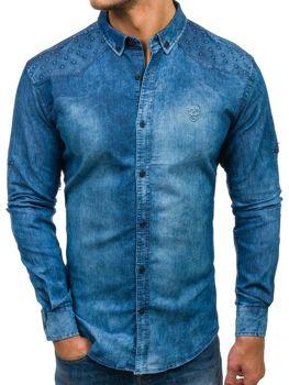 65c1cb9dab63 Modrá pánska riflová košeľa s dlhými rukávmi BOLF 0540