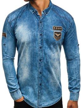 868edae4bc69 Modrá pánska riflová košeľa s dlhými rukávmi BOLF 0992