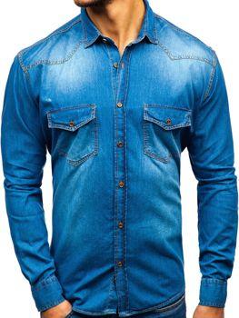 Modrá pánska riflová košeľa s dlhými rukávmi BOLF 1331