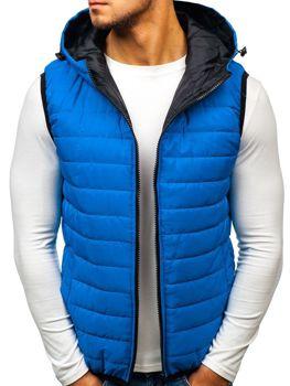 Modrá pánska vesta s kapucňou BOLF AK88 397f29eef2d