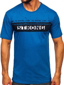 Modré pánske tričko s potlačou BOLF 14204