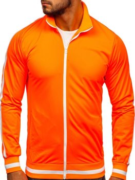 Oranžová pánska mikina na zips bez kapucne retro style Bolf 2126