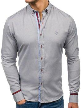 Šedá pánska elegantná košeľa s dlhými rukávmi BOLF 5801