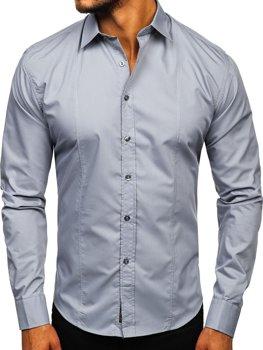 Šedá pánska elegantná košeľa s dlhými rukávmi  Bolf 4705G