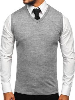 Šedá pánska pletená vesta Bolf 2500