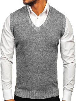 Šedá pánska pletená vesta Bolf 8121