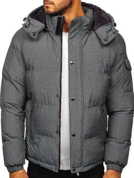 Šedá pánska prešívaná zimná bunda Bolf 1166
