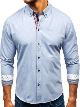 Šedá pánska vzorovaná košeľa s dlhými rukávmi BOLF 8843