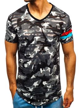Šedé maskáčové pánske tričko s potlačou BOLF 309