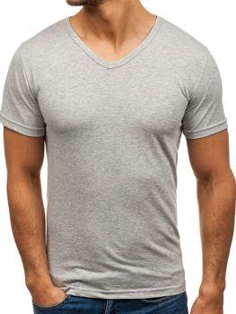 Šedé pánske tričko bez potlače s výstrihom do V BOLF 1002