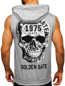 Šedé pánske tričko bez rukávov na zips s potlačou a kapucňou Bolf KS7363
