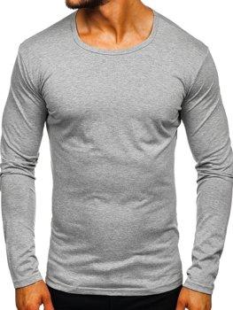Šedé pánske tričko s dlhými rukávmi bez potlače Bolf 2099L