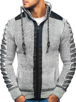 Šedo-čierny pánsky sveter BOLF 20010