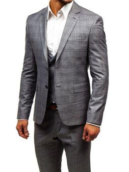 Šedý pánsky oblek s vestou BOLF 18300