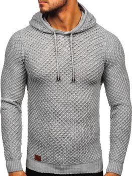 Šedý pánsky sveter s kapucňou Bolf 7004