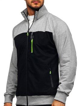 Sivá pánska mikina na zips bez kapucne Bolf JX9892