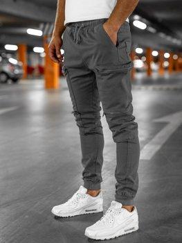 Sivé pánske kapsáčové jogger nohavice Bolf 0475