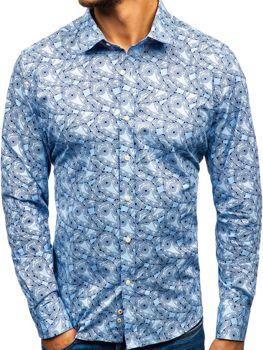 Svetlomodrá pánska vzorovaná košeľa s dlhými rukávmi BOLF 301G89