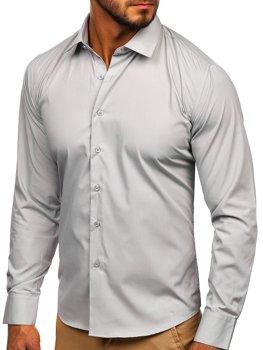 Svetlošedá pánska elegantná košeľa s dlhými rukávmi Bolf 0001