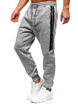 Szare spodnie męskie dresowe Denley TC980