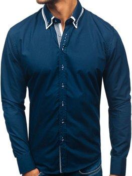 Tmavomodrá pánska elegantá košeľa s dlhými rukávmi BOLF 3704-1