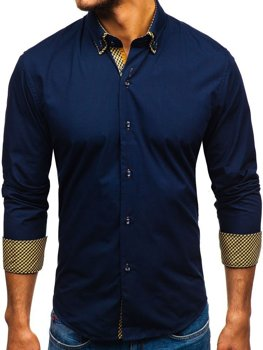 b481a0377335 Tmavomodrá pánska elegantá košeľa s dlhými rukávmi BOLF 4708