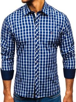 Tmavomodrá pánska elegantná károvaná košeľa s dlhými rukávmi BOLF 4747