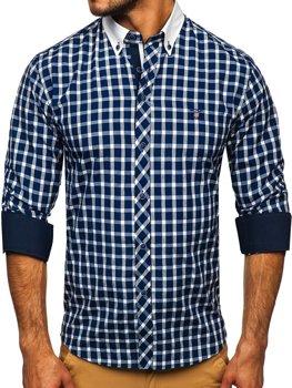 Tmavomodrá pánska elegantná kockovaná košeľa s dlhými rukávmi BOLF 5737