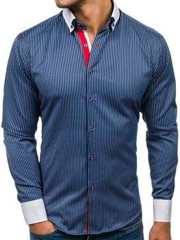 97214681d1c3 Tmavomodrá pánska elegantná košeľa s dlhými rukávmi BOLF 2790