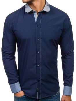Tmavomodrá pánska elegantná košeľa s dlhými rukávmi BOLF 6962